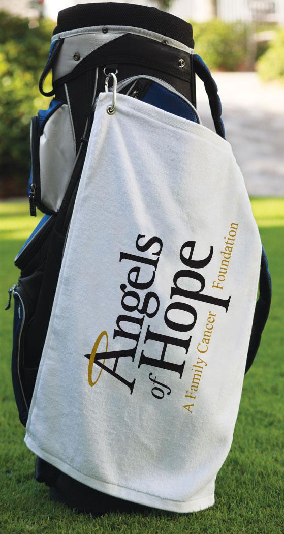 "Golf Towel w Grommet & Hook - 25"" white"